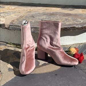 New Free People Cecile Velvet Ankle Boots Pink